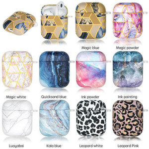 New Luxury coloful Universal Marble geometry TPU Case For Airpods 1 2 Full Protective Cover For Airpod 1st 2nd Generation Shockproof Cover