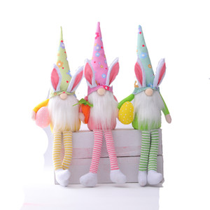 Easter Bunny Gnomes Girl Room Decor Gifts Elf Dwarf Home Stuffed Ornaments Rabbit Collectible Dolls Plush Figurines JK2102XB