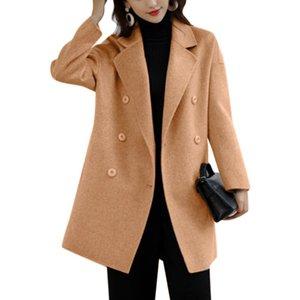 Oficina elegante de invierno Abrigos de mujer combinaciones de manga completa Outwear Outwear de estilo coreano LEPAL LEPAL DOBLE BRATIMIENTO FEMINA ABAJOS SOLIDOS