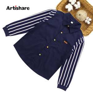 Hot Sale Children Boys Shirts 2 Color Striped Kids Shirts Teenage Boys Clothing For 4 6 8 10 12 13 14 Years Kids Wear 210305