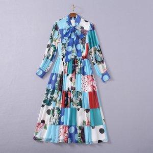 2021 Long Sleeve Stand Collar Fashion Print Milan Runway Dress Designer Dress Brand Same Style Dress 0301-13