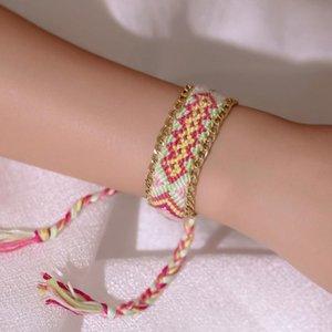 Hand Bohemian Twoven Twist Bracelete Colorido Algodão Linha Exótica Chain Bracelete Pulseira Moda Multicolor