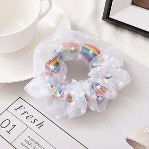 Scrunchy Hairbands Headband Rainbow Gauze Hairs Ring Rubber Band Maiden Hair Cord Ponytail Hair Rope Hair Accessories YYS5373