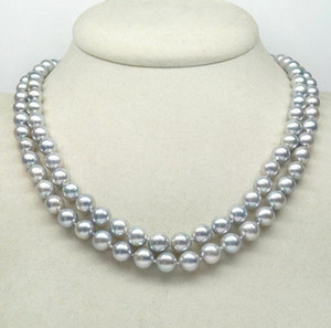 """Fine pearls jewelry high quality 35"""" 7-8MM ROUND SOUTH SEA GENUINE GRAY PEARL NECKLACE 14K GOLD Sweater chain"""