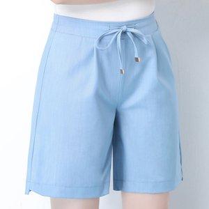 OUMENGKA Verano 2020 Azul Casual Mujeres Altas Cintura Elástica Sólido Ladies Jeans Bols Blet Sports Flow Sports S-4XL