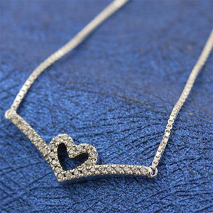 2021 New Authentic 925 Sterling Silver Chain Sparkling Wishbone Heart Collier Necklace Fits Pandora Style Jewelry Charms and Beads 399273C01