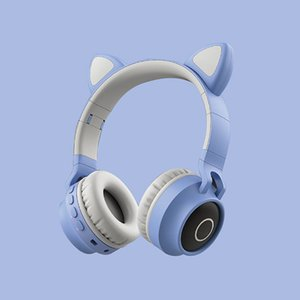 LED Cat Ear Noise Cancelling Headphones Bluetooth 5.0 Young People Kids Headset Support TF Card 3.5mm Plug With Mic Retail Box
