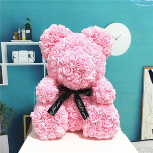 DIY 40CM PE Plastic Artificial Flowers Rose Bear Foam Rose Flower Teddy Bears Valentines Day Gift Birthday Party Spring Decoration With box