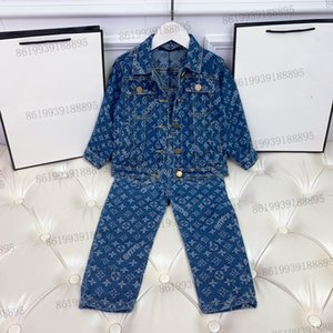 luxury kids jeans jacket + Overalls trousers sets childrens autumn long sleeve tracksuit clothing set girls winter coat