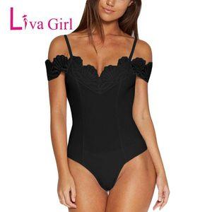 Women's Jumpsuits & Rompers Liva Girl Summer Sexy Bodycon Bodysuit 2021 Women Off Shoulder Strap Crochet V Neck White Black Streetwear Body
