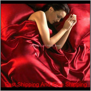 Satin Bedding Set Queen Size Luxury Red Silk Fitted Bed Sheet With Elastic Band Black Bed Sheets And Pillowcases Beddingoutlet 3Ae0Z Donhm