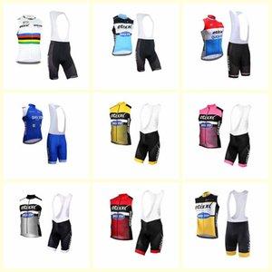 Equipe de passo rápido Ciclismo sem mangas jersey colete bib shorts conjuntos de verão montando confortável roupa seca rápida u81926