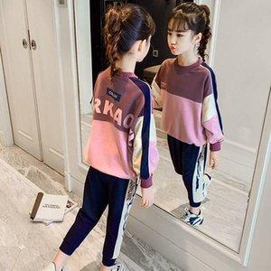 Giyim Setleri Sonbahar Çocuk Kızın Spor Kızlar Uzun Kollu Kazak Pantolon Genç Casual Eşofman Kıyafet 10 12 yaşında