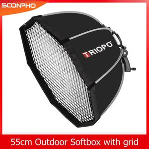 Triopo KS55 55cm Speedlite Portable Octagon Umbrella Softbox with Honeycomb Grid Outdoor Flash Soft Box for Godox