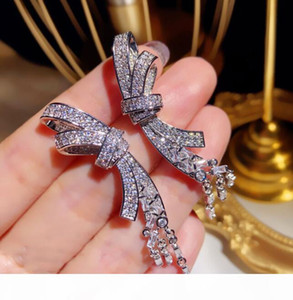 Luxury Shining Fashion Bow Designer Earrings Long Tassel Dangle Earrings Jewelry with Crystal CZ Diamond Stone for Women Wedding