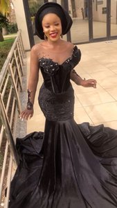 Elegant Black Evening Dresses Long Sleeves Mermaid Lace Crystals Beaded Velvet Circle Long Train Aso Ebi Prom Gown