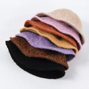 2021 الخريف الشتاء دلو قبعة الكشمير محبوك حوض قبعة للنساء بسيطة جوكر الصغيرة بريم الصياد دلو القابل للطي