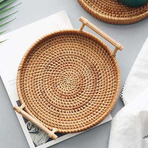 Rattan Storage Tray Round Basket with Handle Hand-Woven Rattan Tray Wicker Basket Bread Fruit Food Breakfast Display L with fast shipment