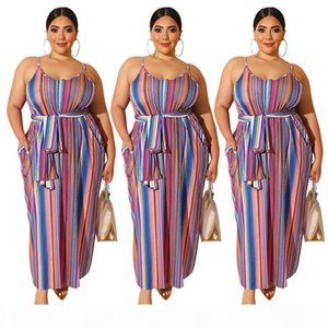 Women casual plus size dresses sashes sexy spaghetti strap pencil dresses sleeveless ankle-length striped print colotful summer clothing 490