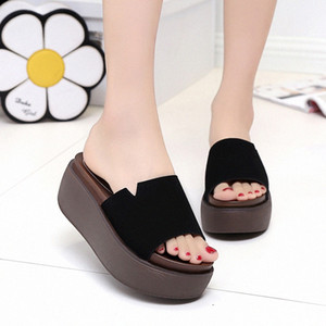 Lucyever Casual Mujeres Open Toe Platform Flats Slippers Slippers Ladies Suela Thick Sole Diapositivas al aire libre Classice Beach Flip Flobs 5989 #