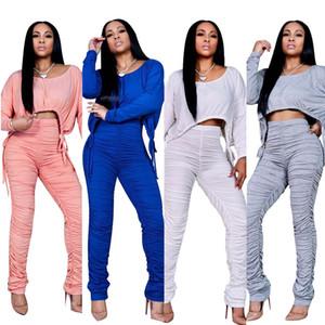 Женская мода урожай топ талии кромки на шнуровке с длинным рукавом с длинными жесткими брюками морщин вскользь два частя