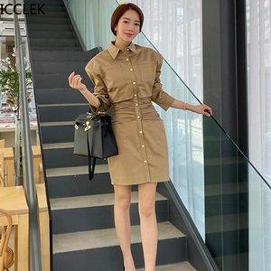 ICCLEK Sonbahar Kadınlar Yeni Stil Kore Mizaç Kendi Kendini Yetiştiriciliği Retro Rüzgar Bel Orta Uzunlukta Ince Elbise