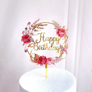 New Rose Flowers Happy Birthday Acrylic Cake Toppers Gold Birthday Cake Topper Decor for Wedding Birthday Party Cake Decorations AHA3692