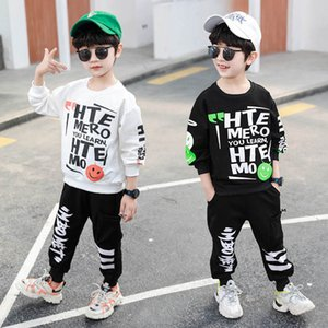 Boys Suits Kids Tracksuit Children Outfits Spring Autumn Cotton Letter T Shirt Pullover Pants Trousers Baby Clothes SM057
