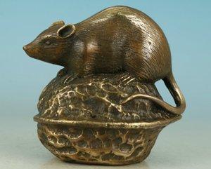 Belle souris sculptée en laiton chinois asiatique