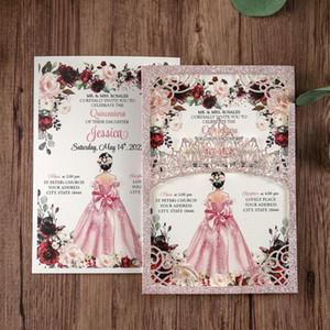 1pcs Luxury Shining Wedding Invitations Cards Laser Cut Pocket for Wedding Quinceanera Birthday