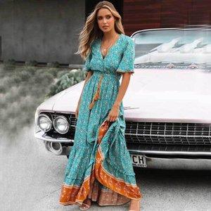 Boho ispirato Blus Floral Maxi Dress V-Neck Bottone Down Pizzo Trim Primavera Dress Summer Dress Tassel Tied Vita Lunga Donne Abiti 210315