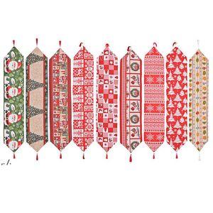 Рождественские тканевые столовые бегун 180 * 35 см Веселые рождественские кухонные столы украшения DWD11246