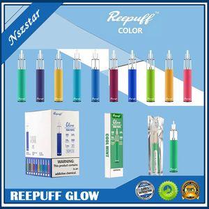 원래 Reewape ReePuff Glow 일회용 포드 장치 충전식 650mAh 7 색 LED 특집 1500 퍼프 650mAh 증기 바 스틱 펜 키트 DHL