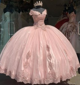 Pink Quinceanera Dresses 2021 Modest Off the Shoulder Lace Applique Beaded Ballgown Sweet 16 Birthday Party Prom Gown Custom Made vestidos