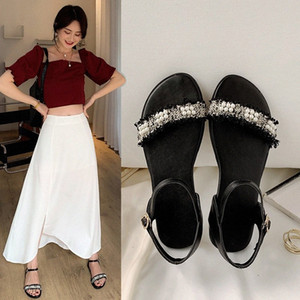 YQBTDL 2020 New Summer Cheap Flat Sandals Women Black White Daily String Bead Beach Casual Ladies Shoes Large Size Sandals 34-44 u23Z#