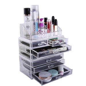 Zimtown Makeup Organizer Cosmetics Storage Rack with 2 Small & 5 Large Drawers (Transparent)