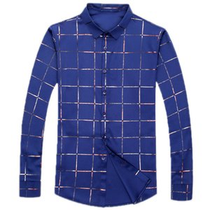 Brand Casual Spring Luxury Plaid Long Sleeve Slim Fit Men Shirt Streetwear Dress Shirts Mens Fashions Jersey 2309