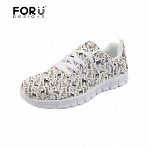 Forudesigns Sneakers Femmes Appartements Greyhound Chien Pet Pet Impression Casual Dames Chaussures Plateforme Confortable Lacets Femmes Chaussures Femmes 2018 Z7zn #