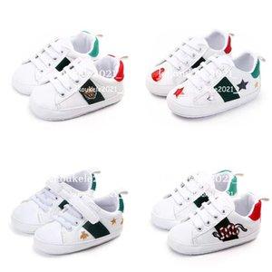 Baby Shoes Newborn Boys Girls Heart Star First Walkers Crib Soft Bottom Kids Lace Up PU Prewalker Sneakers
