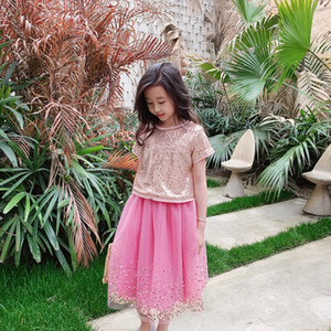High quality baby girl set 2021 Summer Kids Girls Sequined t shirt with pink dress 2pcs suits tops Children sweet girl party birthday clothi