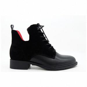 Moda Mujeres Negro Cuero Suede Rojo Forro Temperamento Cabeza Redonda Vendajes Botas Cilindro Botas cortas Gruesas Botas de tobillo de botines de, K75U #