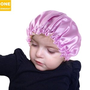 children hat hats beanie elastic nightcap adjustable buckle double layer Satin candy color hair protection cap baby high quality H24QZ2T