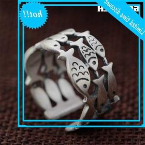 GQTorch Sterling Silber Ring Hohl Fischringe Für Frauen Vintage Einfache Design Öffnung Typ AROS Plata 925
