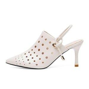 2021 nuevas sandalias de verano moda zapatos de tacón alto sandalias mujeres multa con cúspide tacones altos negro sexy mujer hueca bombas