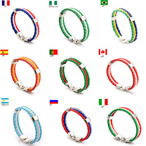 Fashion Russia Spain France Brazil Flag Leather Team Bracelet Men & Women PU Leather Football Fans Couples Gift Jewelry