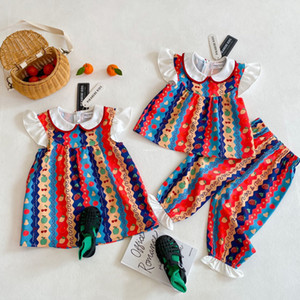 INS new Girls fruit printed dress 2021 summer children ruffle fly sleeve dress Kids Bohemia Rural style sets A5899