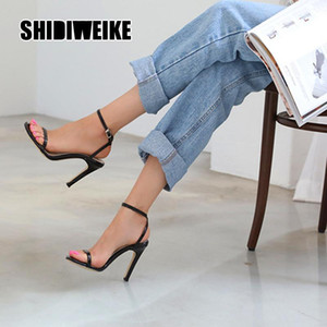 2021 Fashion Crystal Women's High-heeled Sandals Strap Ankle Buckle Sexy Party Dress Office Casual High Heels Woman Shoes va996
