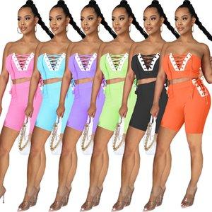 Strapless Crop Top Shorts Set Bandage Two Piece Set Yoga Suit Velvet Tracksuit Skinny Bodycon Sportwear Jogger HM6511 high