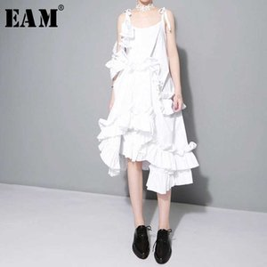 [EAM] Spring Irregular Multilayer Ruffles Solid Color Loose Fashion Sexy White Dres Trendy J211 210324
