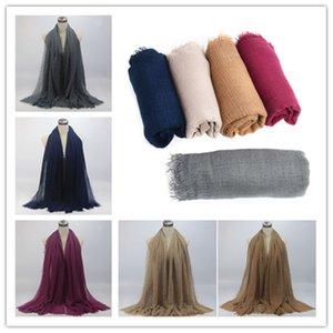 2021 Women Maxi Hijabs Shawls Oversize Islamic Head Wraps Soft Long Muslim Frayed Crepe Premium Cotton Plain Hijab Scarf
